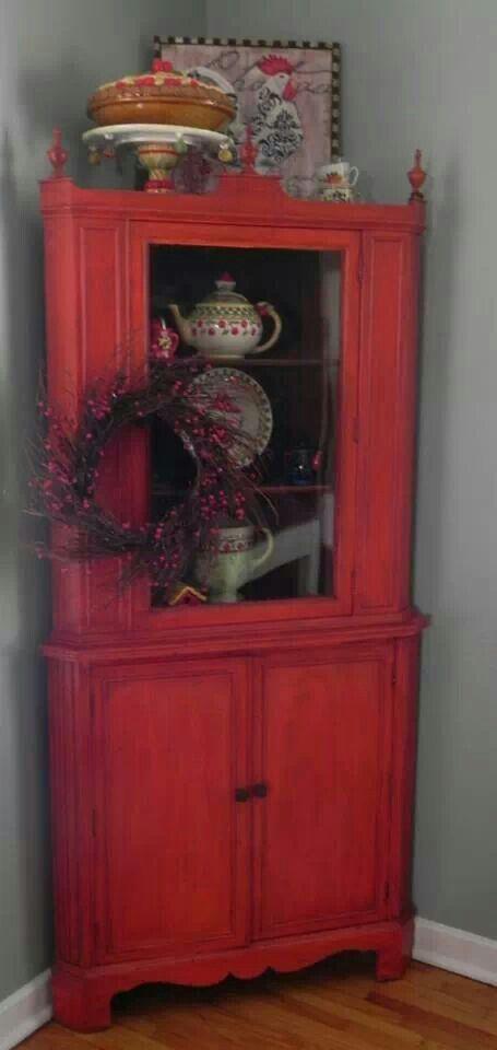Vintage Red Corner Hutch 225 Gecko S Hyde Pinterest