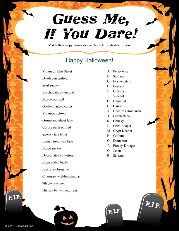 Guess Me, If You Dare Halloween game Holidays