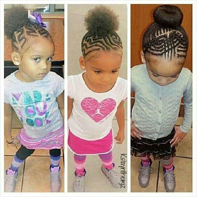 Various Cornrow Patterns Into A Puffbun For Little Girls