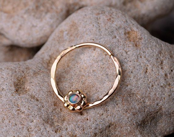 SEPTUM RING / Cartilage 14 K Gold filled with 2mm synthetic Opal.
