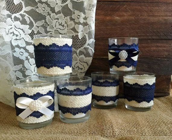 Navy Blue And Ivory Rustic Burlap And Lace Covered 6