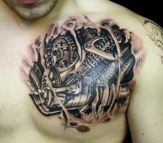 Mechanical chest piece Tattoos Pinterest Chest piece