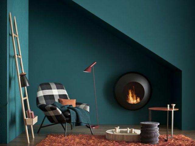 Bleu Paon Dulux Valentine Salon Living Room