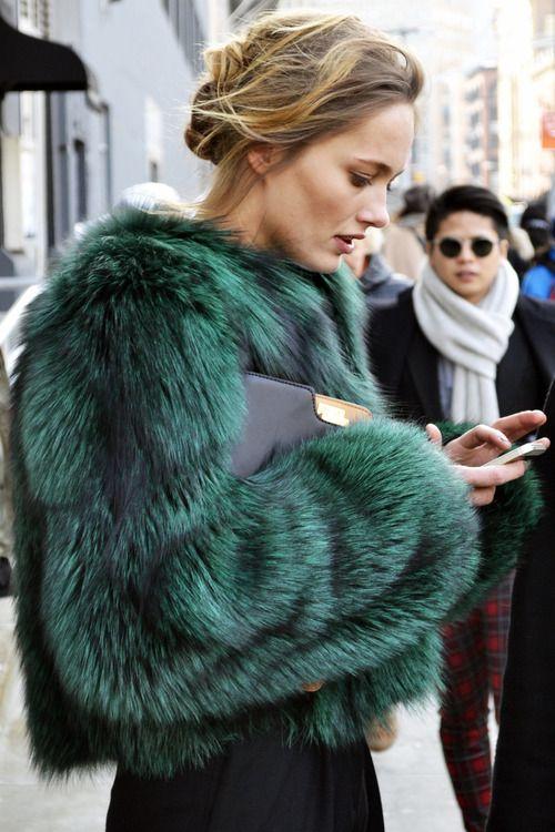 wgsn: Model @Karmen_Pedaru looks ab fab in a rich emerald fur…