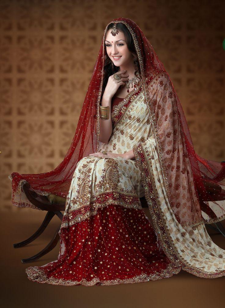 Buy Ivory And Maroon Viscose Net Wedding Lehenga Saree