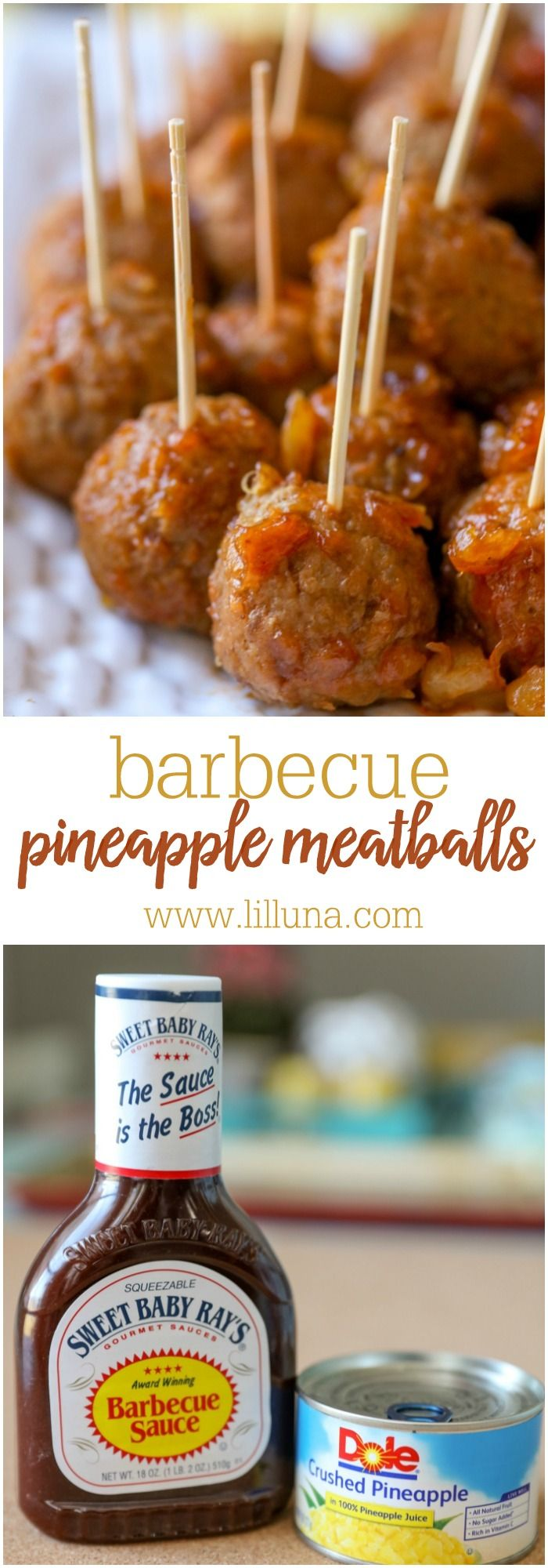 Barbecue Pineapple Meatballs – just 3 ingredients and perfect as an appetizer recipe for parties and get t