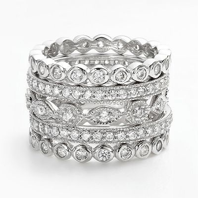 Sophie Miller Sterling Silver Cubic Zirconia Stack Ring