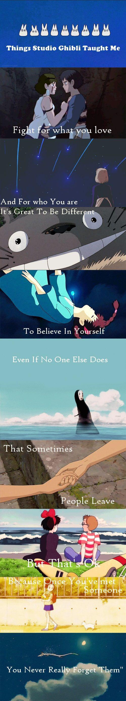 Things Studio Ghibli Taught Me:  Princess Mononoke, Howl's Moving Castle, My Neighbor Totoro, Laputa: Castle in the Sky, Spirited