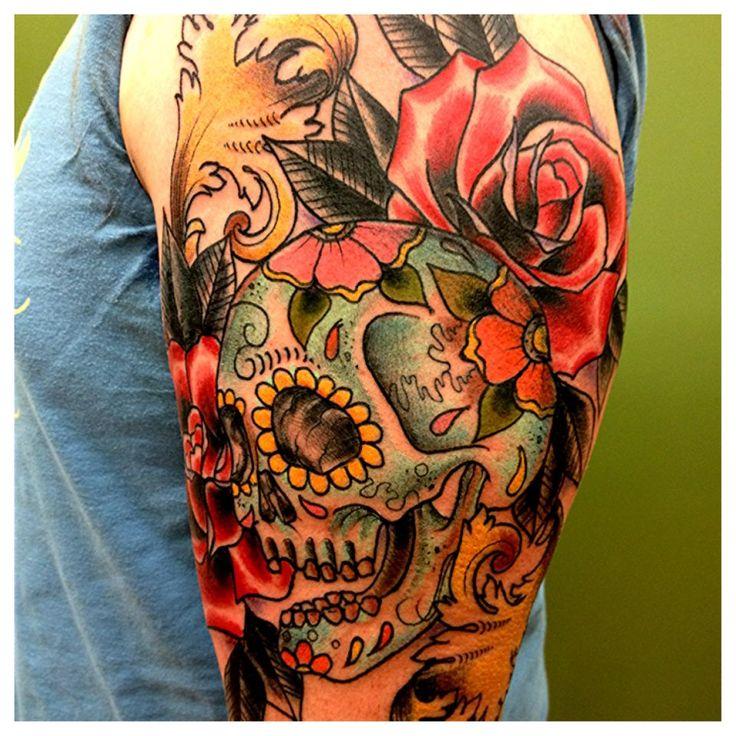 Sugar Skull and Roses Kirk Nilsen. Crowne and Anchor