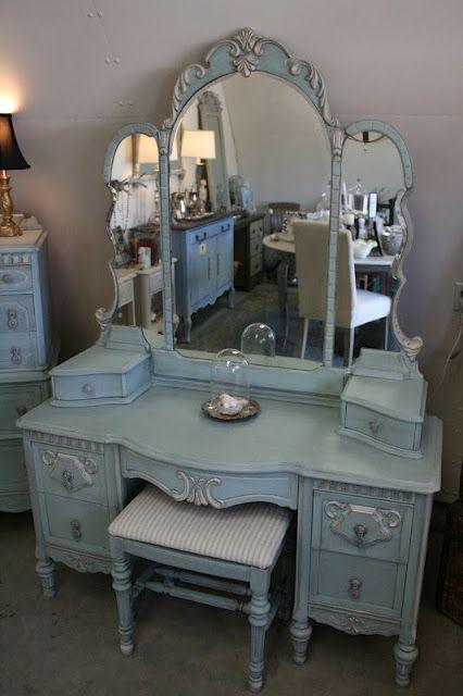 Reloved Rubbish Vintage Aqua Dresser And Vanity Set