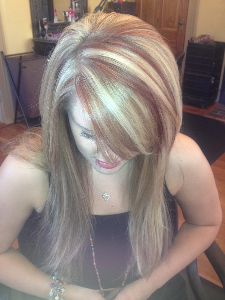 Red And Blonde Highlights Long Hair Fun Colors Hair