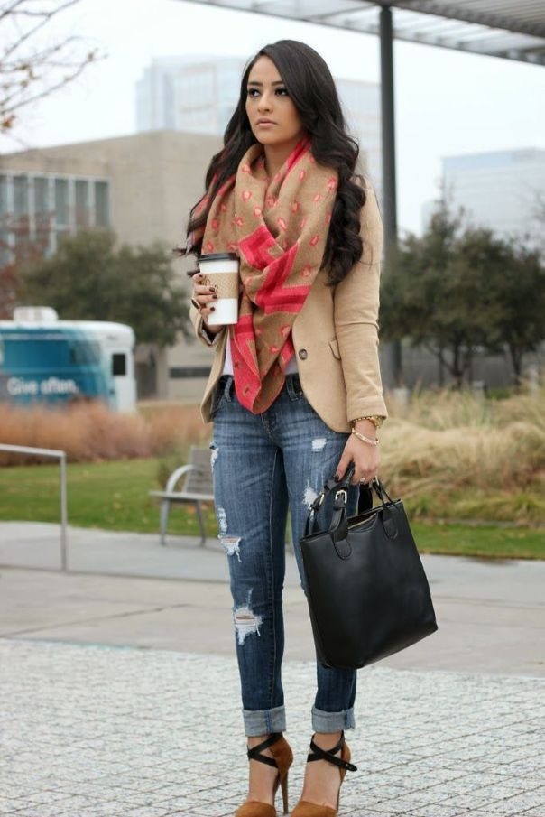 Perfect fall outfit! Holey jeans cuffed, camel color blazer with scarf Women's fall fashion clothing outfit for shopping lunch dates movie: