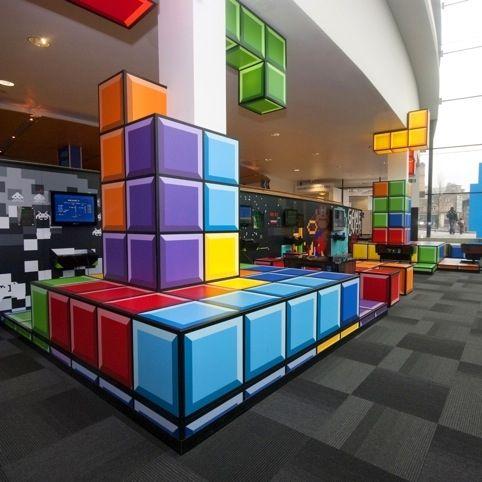 Games Lounge – National Media Museum in Bradford. Tetris style decor, awesome retro interior design.