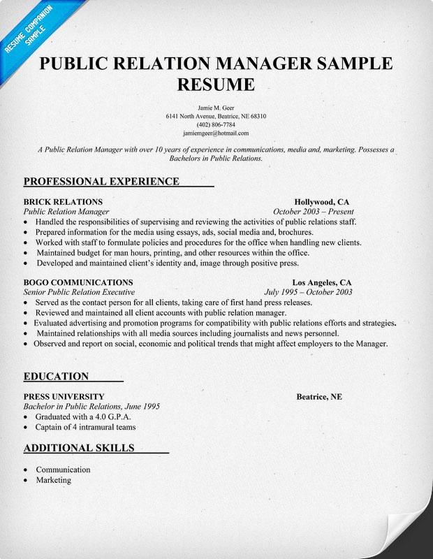 Public Relation Manager Resume Sample PR Resume