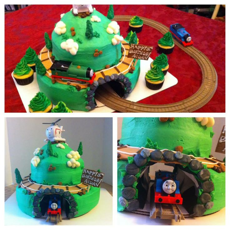 Thomas The Train Cake With Track And Real Tunnel Through