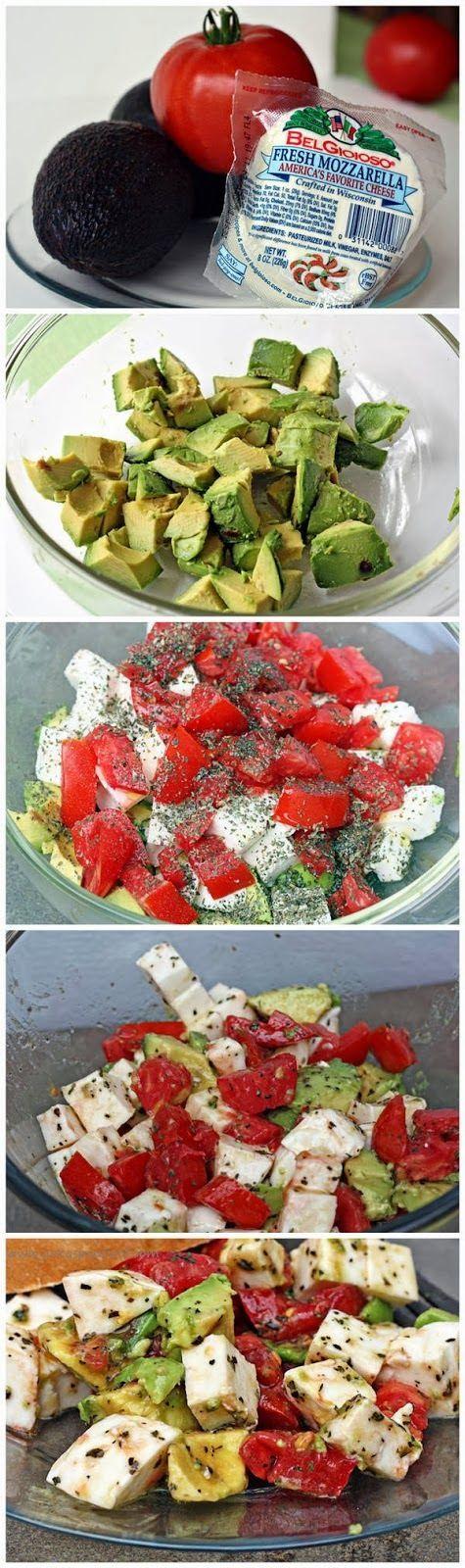 Bright and Fresh Avocado, Tomato and Mozzarella Salad