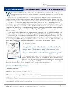 Women S History 19th Amendment And Worksheets