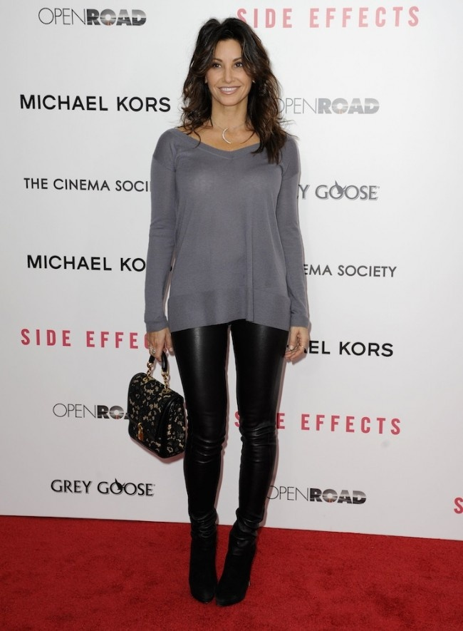 Gina Gershon rock a leather leggings and loose sweater