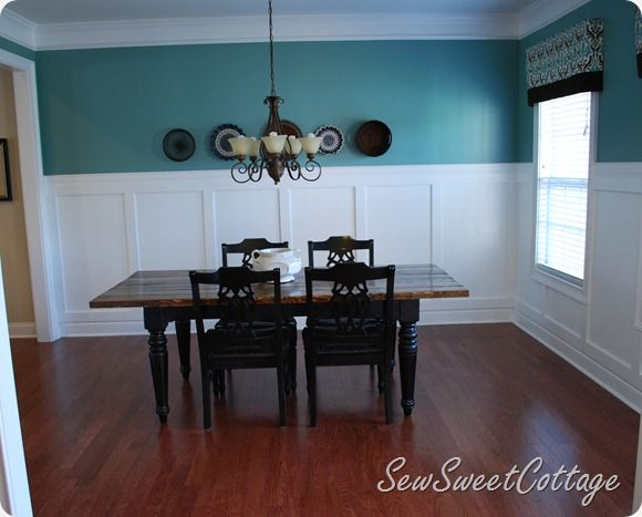 Board And Batten Dining Room With Aqua Walls Color On