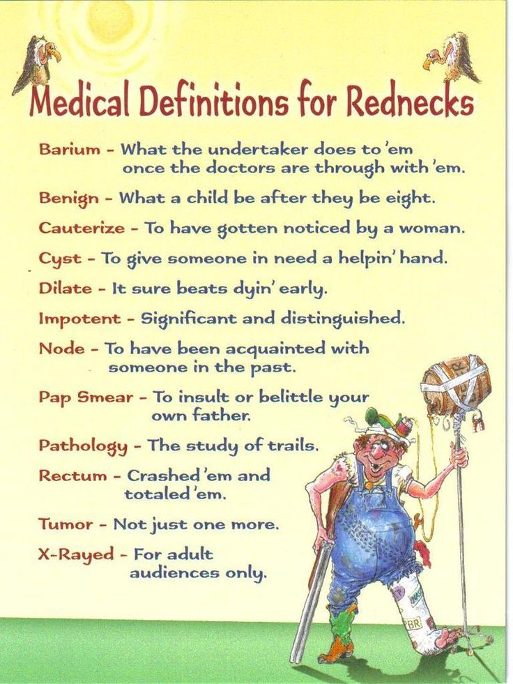 Medical Definitions for Rednecks Language, The south and
