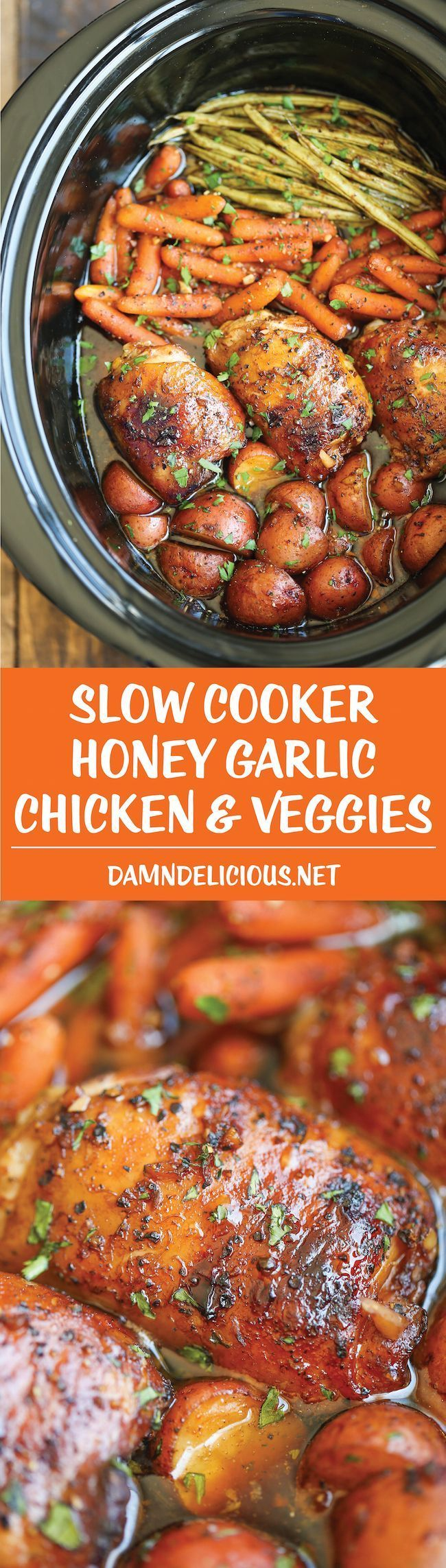 Slow Cooker Honey Garlic Chicken and Veggies – The easiest one pot recipe ever. Simply throw everything in and that's it! No
