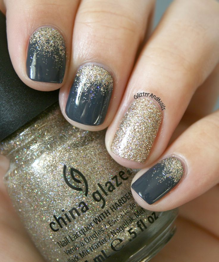 Gold Rain Grey, Gold glitter nails and Glitter