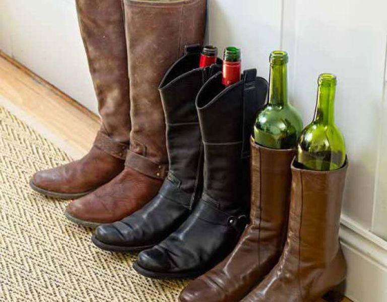 wine bottles in boots