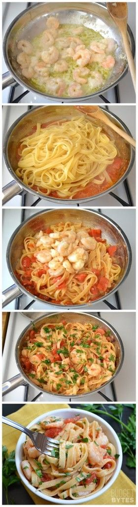 Spicy Shrimp Tomato Pasta– 1/2 lb cleaned shrimp, 8 oz fettuccini, diced tomatoes can, red pepper flakes (Ill omit for non spicy