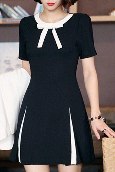 OL Style Short Sleeve Bowknot Design Womens Mini Dress