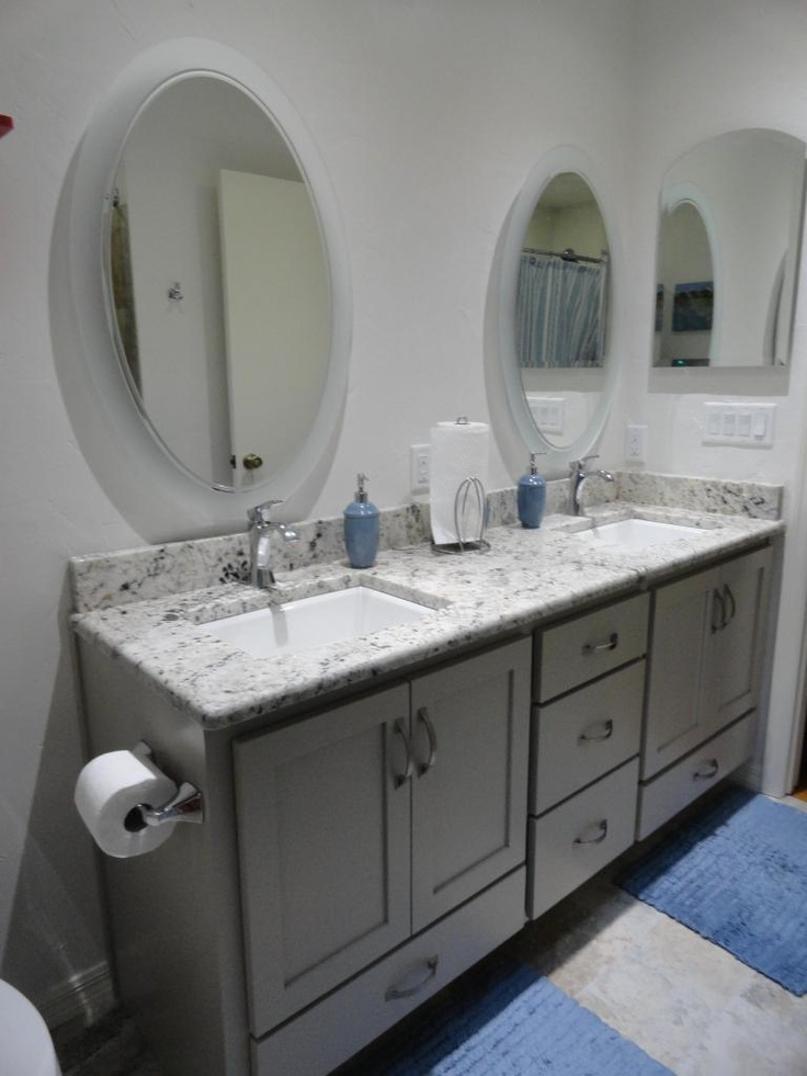 Galaxy White Granite BM Revere Pewter Cabinet With Drawer