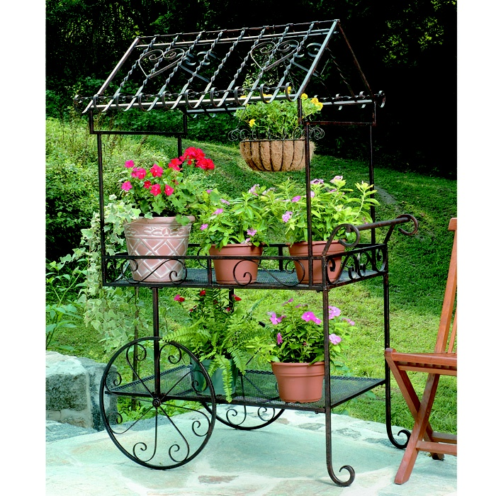 Wrought Iron Flower Cart Plant Stand For the Home