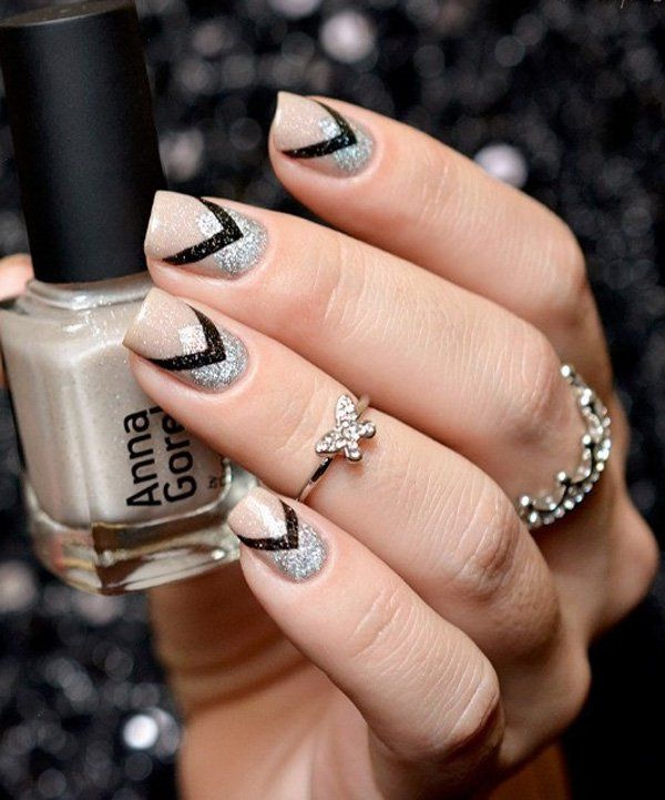 Nude, black and silver winter nail art design. A perfect combination with the use of glitter silver polish which makes the frost