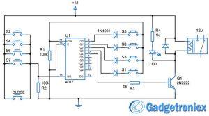 Simple code locker circuit diagram using decade counter CD4017 IC password based Electronic