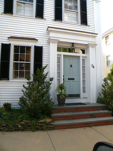 I want my front door this color blue –   white house exterior, blue