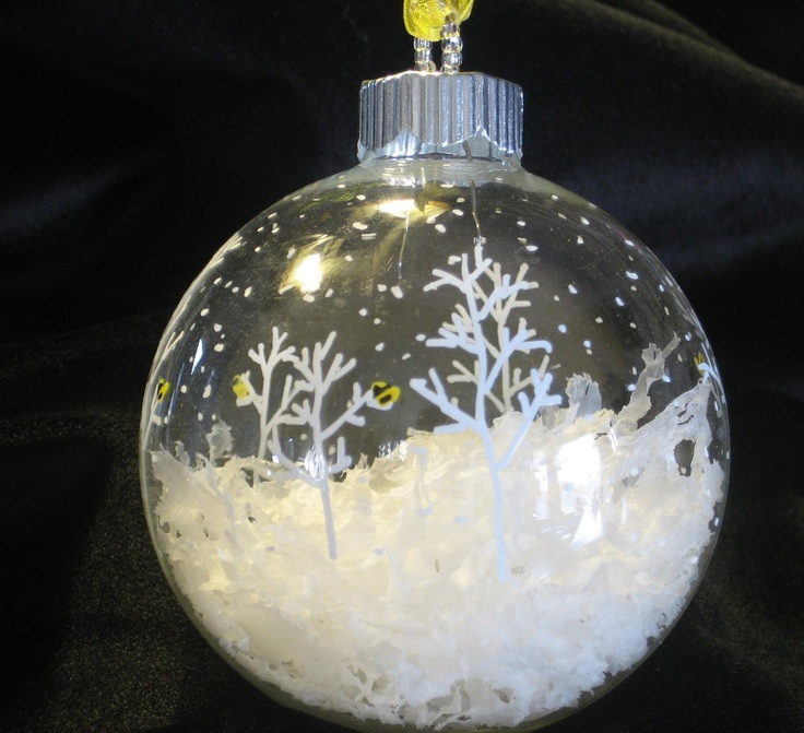 Hand Painted Glass Christmas Ball Ornament Gold Finch