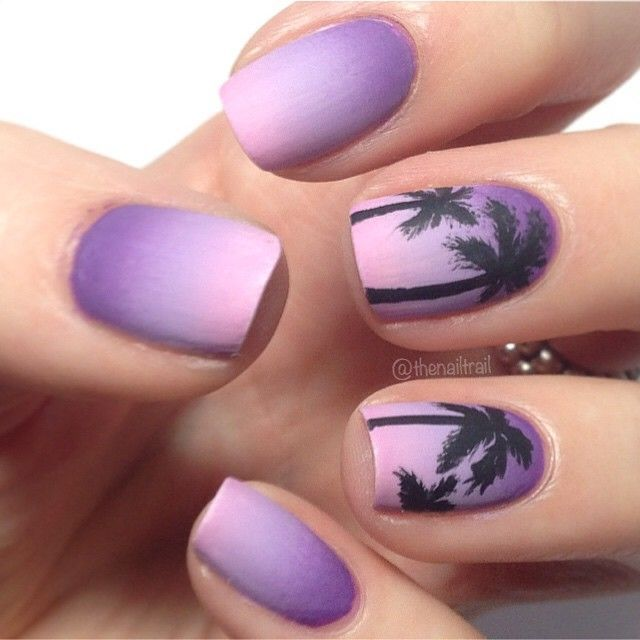 Purple Ombre Palm Tree Nails- Tropical – Great for the summer ~