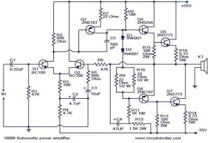 100wsubwooferamplifiercircuit | AMPLIFIER | Pinterest | Circuit diagram