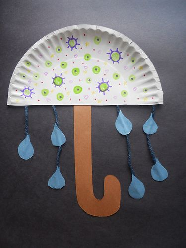 This is an adorable craft for our rainy springtime weather!  I even think that a solid-colored umbrella would look adorable, as