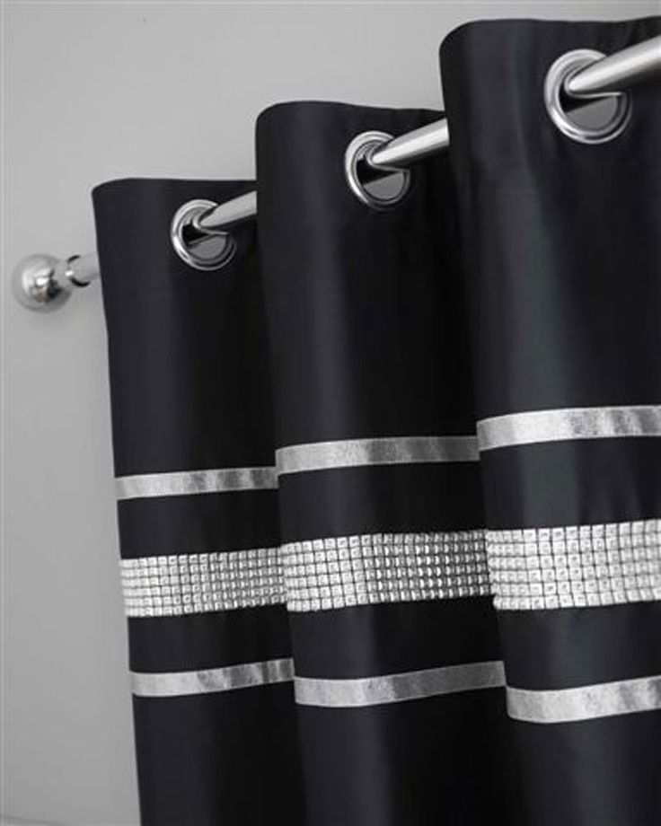 BLACK Amp SILVER DIAMANTE BLING BEDDING ANDOR CURTAINS ANDOR ACCESSORIES Curtains Only Amazon