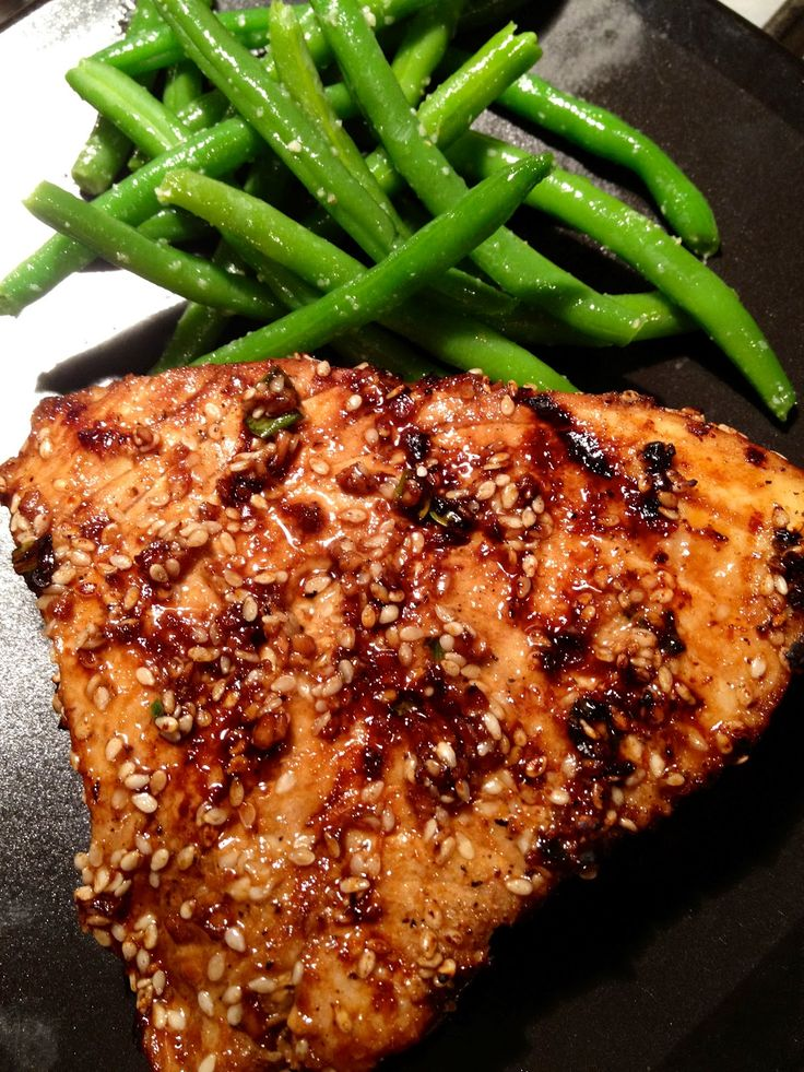 Asian Sesame Grilled Tuna Steak (This was so delicious we couldn't believe it was tuna! Such a simple recipe and even people who