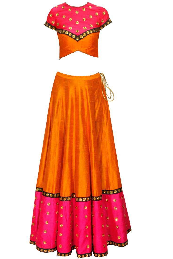 Orange embroidered lehenga