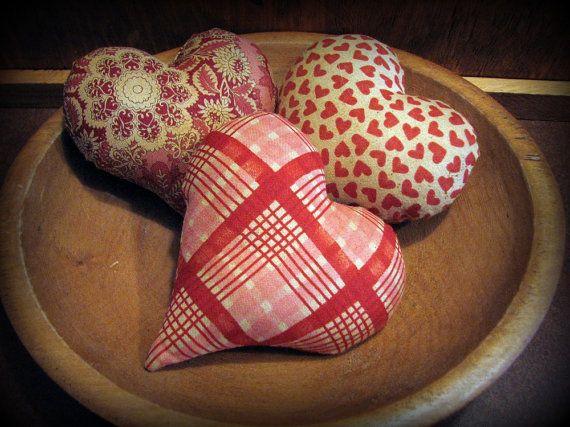 Primitive Heart Bowl Filler Valentines Decoration Plush