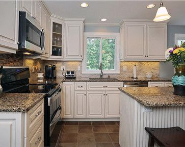 Kitchen white cabinets amp; black appliances Design Ideas, Pictures, Remodel and