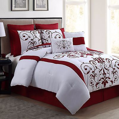 New Queen Size Comforter Set 8 Piece Red Wine And White Bedding Bed Sheets Queen Size