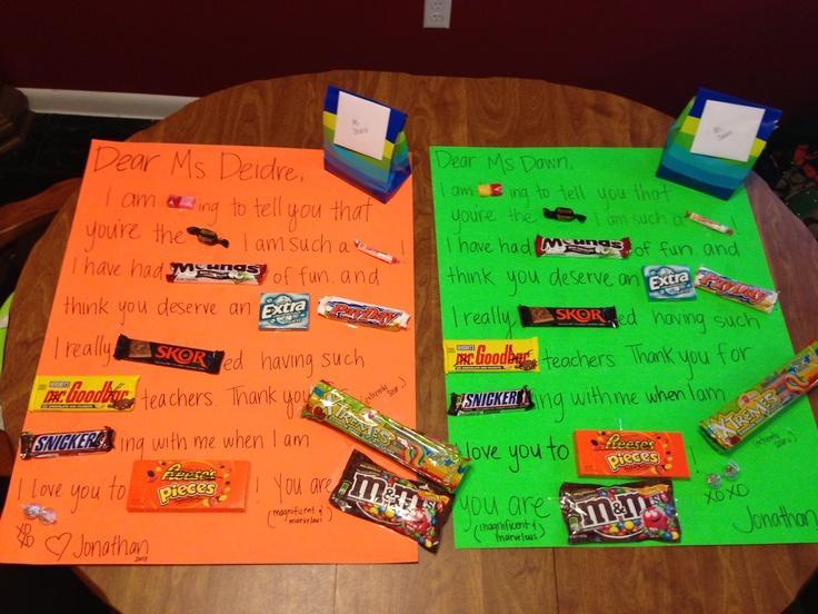 Teacher Thank You Gifts Candy Bar Poster Board Craft