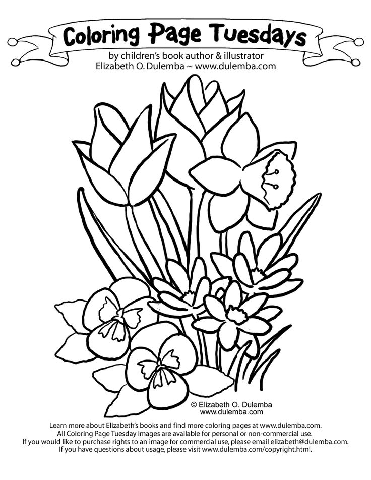 Spring Coloring Pages boquet of Spring blooms for you