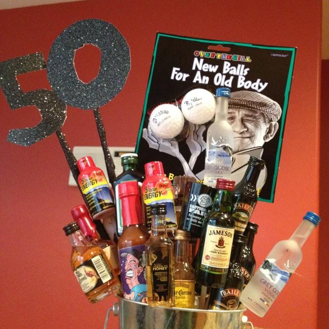 50th Birthday Giftbasket for Men! Gift ideas