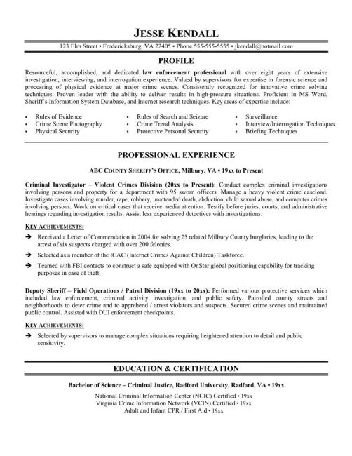 1000 Ideas About Police Officer Resume