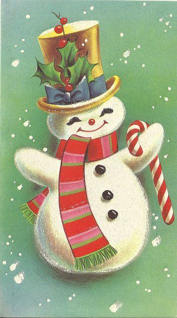 1968 Snowman Vintage Christmas Card Flickr Photo