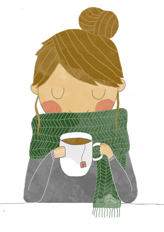 Cute drawing of a woman with hair in a bun, cozy big scarf, sweater, and a cuppa!  Portraits – Laura Caldentey illustration